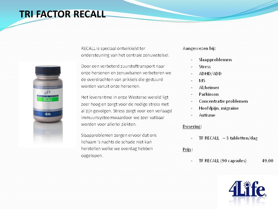 TRI FACTOR RECALL Designed by CQE-Management.com