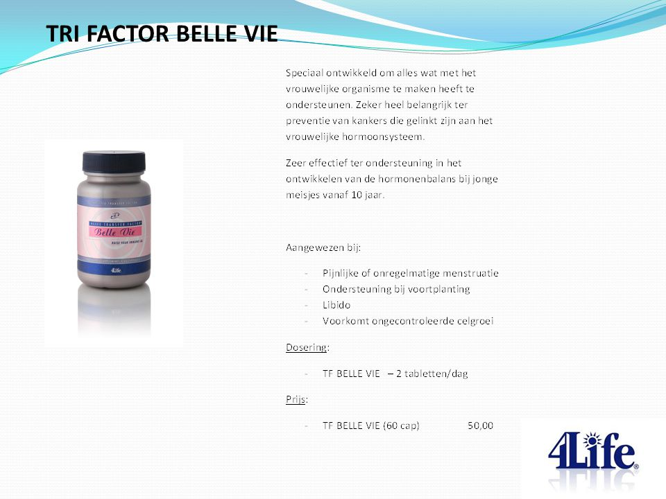 TRI FACTOR BELLE VIE Designed by CQE-Management.com