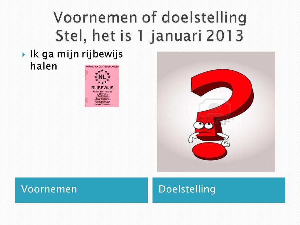 Voornemen of doelstelling Stel, het is 1 januari 2013