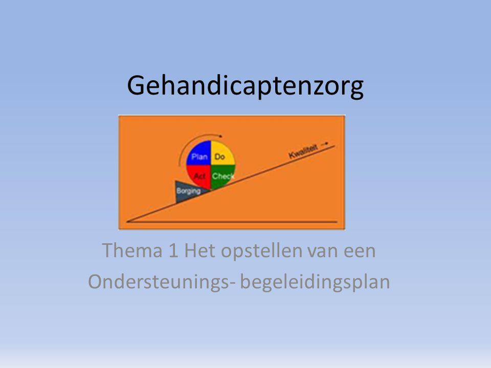 Thema 1 Het opstellen van een Ondersteunings- begeleidingsplan