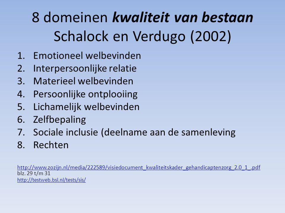 8 domeinen kwaliteit van bestaan Schalock en Verdugo (2002)