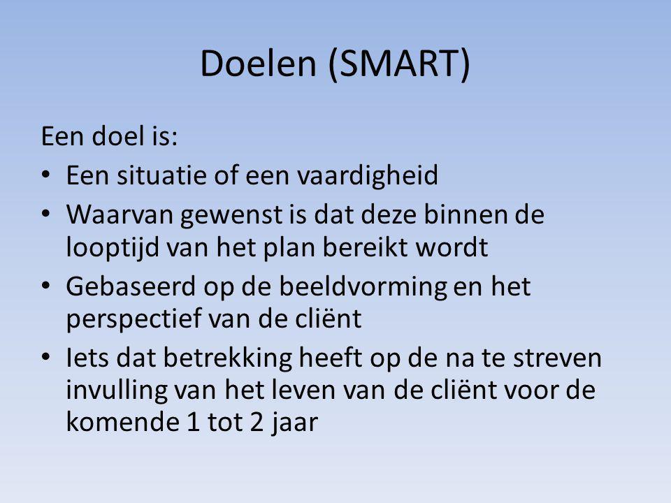 Doelen (SMART) Een doel is: Een situatie of een vaardigheid