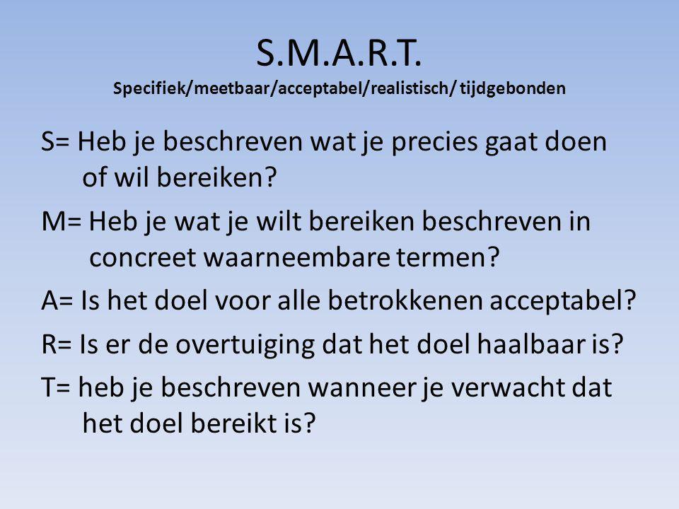 S.M.A.R.T. Specifiek/meetbaar/acceptabel/realistisch/ tijdgebonden