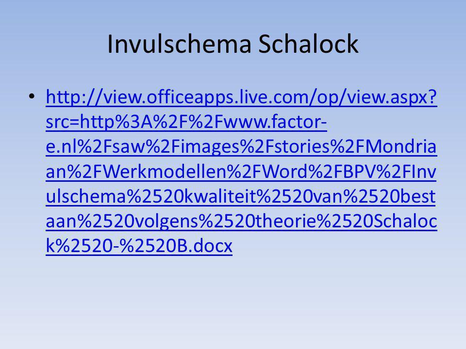 Invulschema Schalock