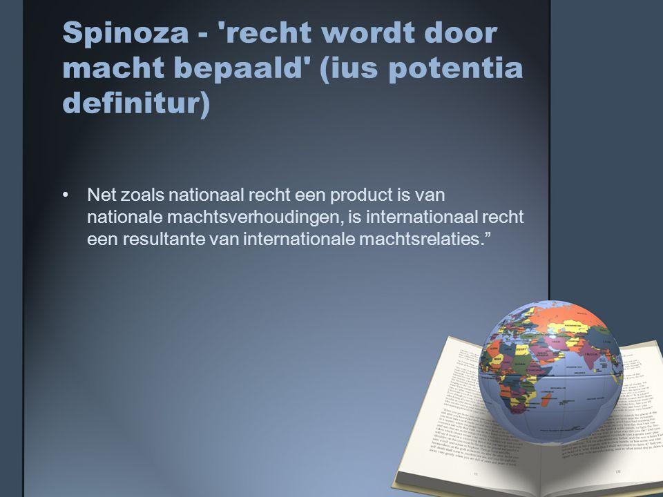 Spinoza - recht wordt door macht bepaald (ius potentia definitur)
