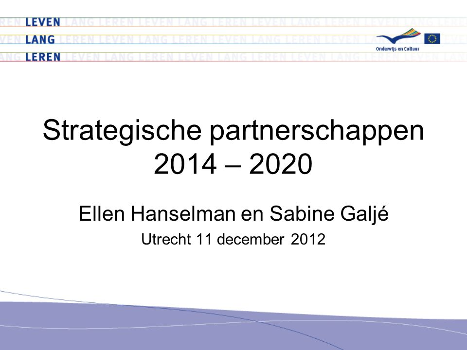 Strategische partnerschappen 2014 – 2020