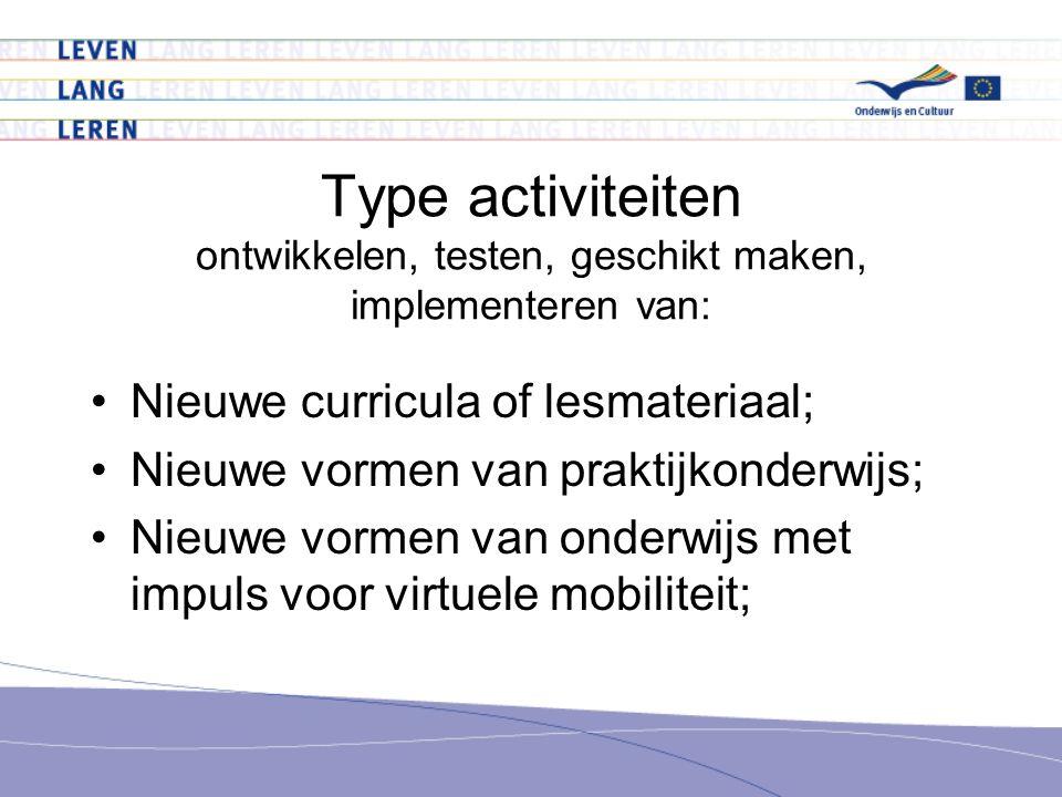 Type activiteiten ontwikkelen, testen, geschikt maken, implementeren van: