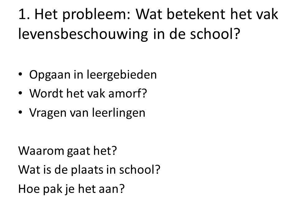 1. Het probleem: Wat betekent het vak levensbeschouwing in de school
