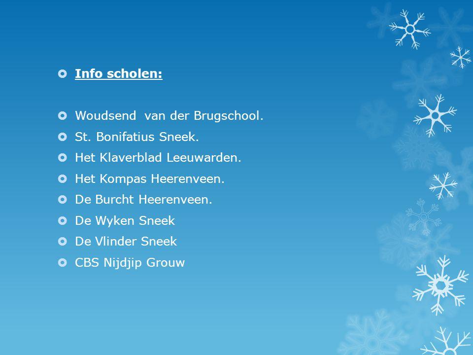 Info scholen: Woudsend van der Brugschool. St. Bonifatius Sneek. Het Klaverblad Leeuwarden. Het Kompas Heerenveen.