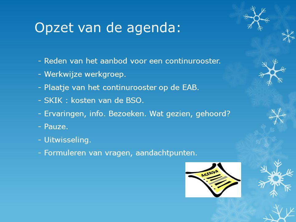 Opzet van de agenda: