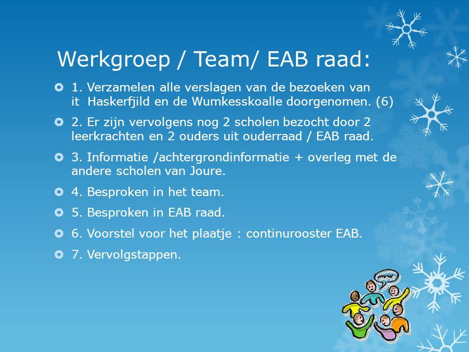 Werkgroep / Team/ EAB raad: