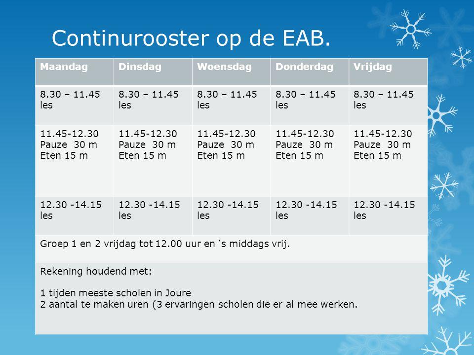 Continurooster op de EAB.
