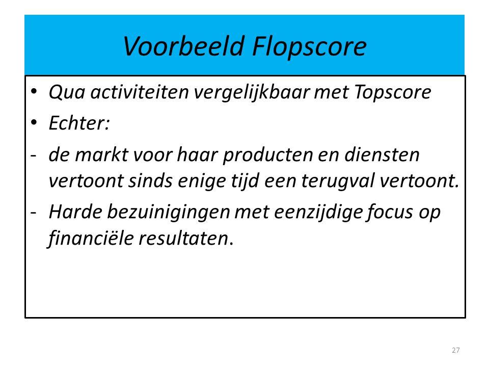 Voorbeeld Flopscore Qua activiteiten vergelijkbaar met Topscore