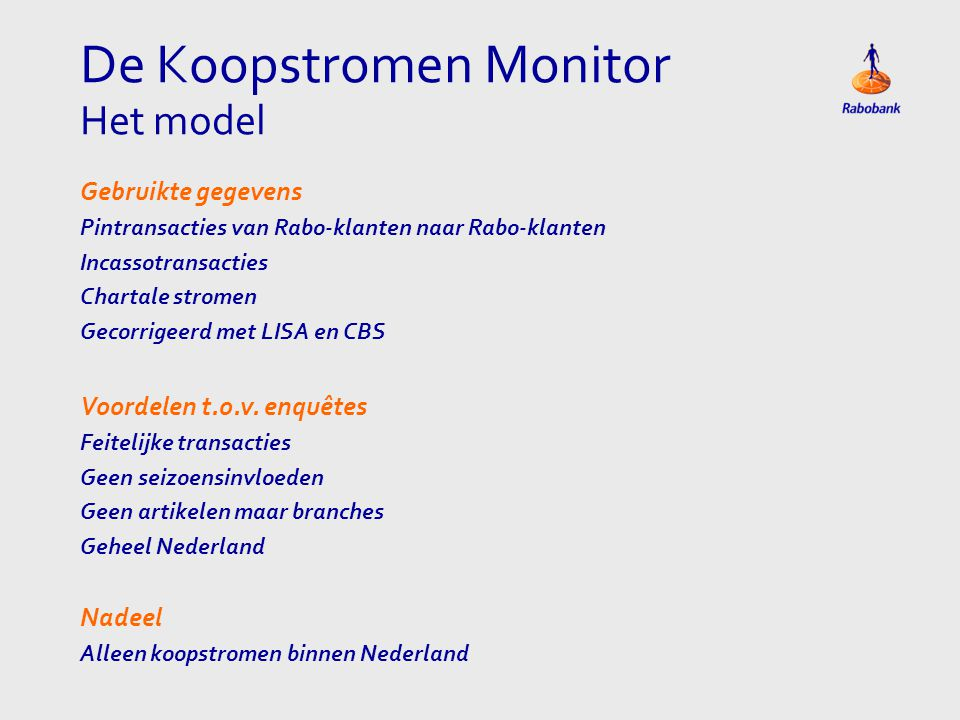 De Koopstromen Monitor Het model