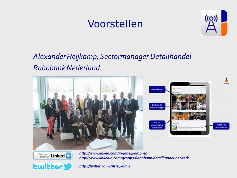 04 April 2017 Voorstellen Alexander Heijkamp, Sectormanager Detailhandel Rabobank Nederland