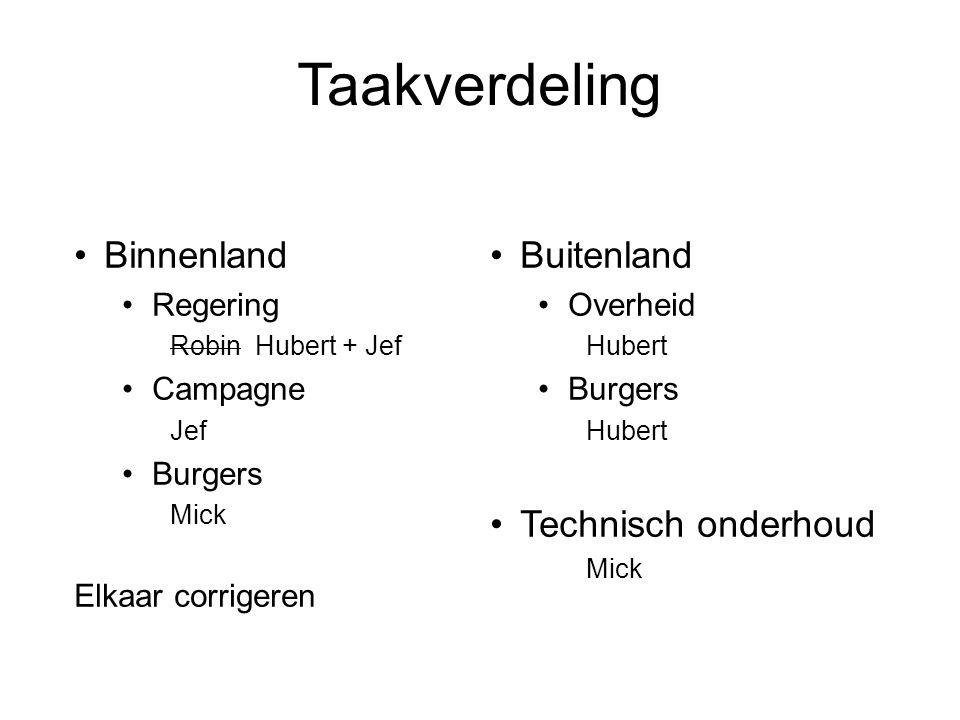 Taakverdeling Binnenland Buitenland Technisch onderhoud Regering