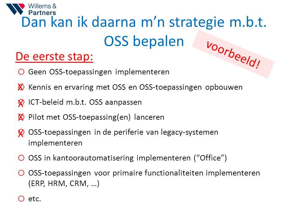 Dan kan ik daarna m'n strategie m.b.t. OSS bepalen