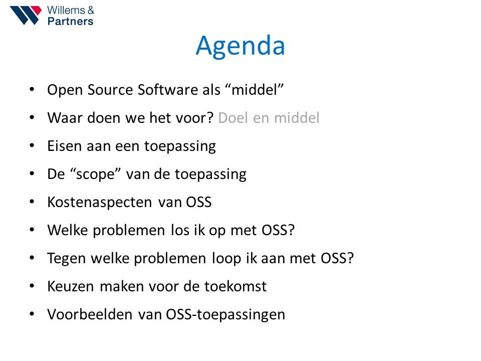 Agenda Open Source Software als middel