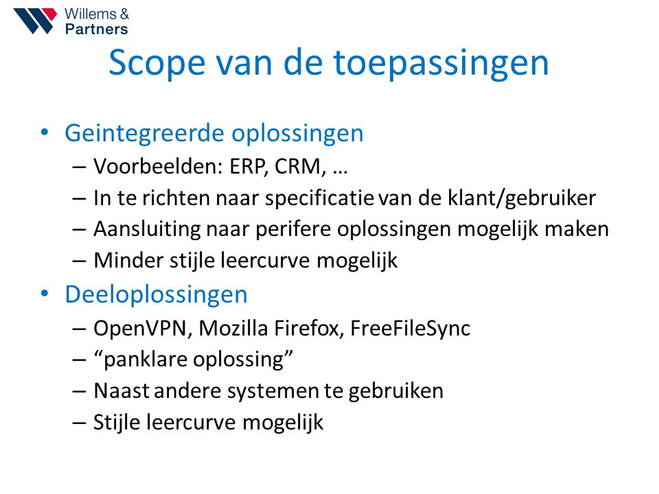 Scope van de toepassingen