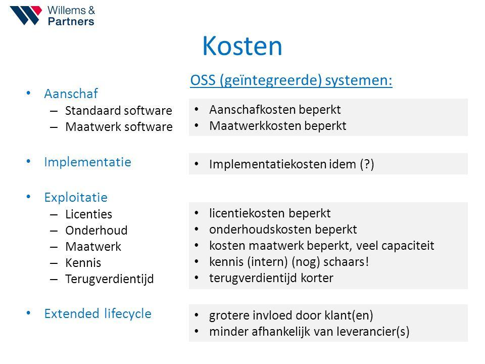 Kosten OSS (geïntegreerde) systemen: Aanschaf Implementatie
