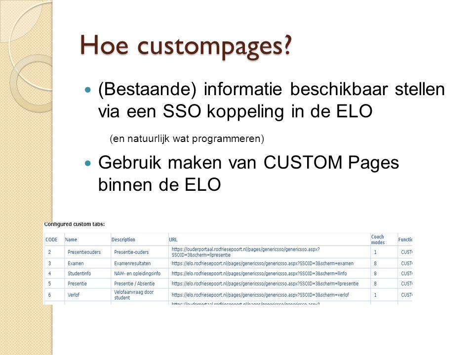 Hoe custompages (Bestaande) informatie beschikbaar stellen via een SSO koppeling in de ELO (en natuurlijk wat programmeren)