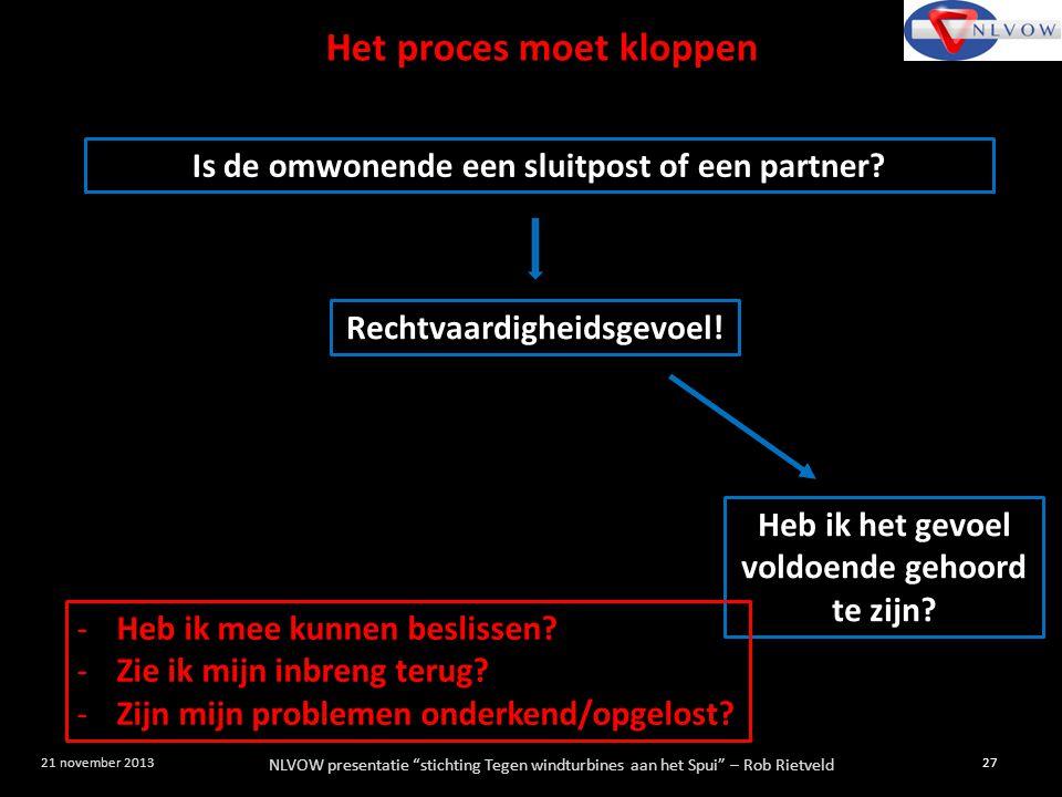 Het proces moet kloppen Is de omwonende een sluitpost of een partner