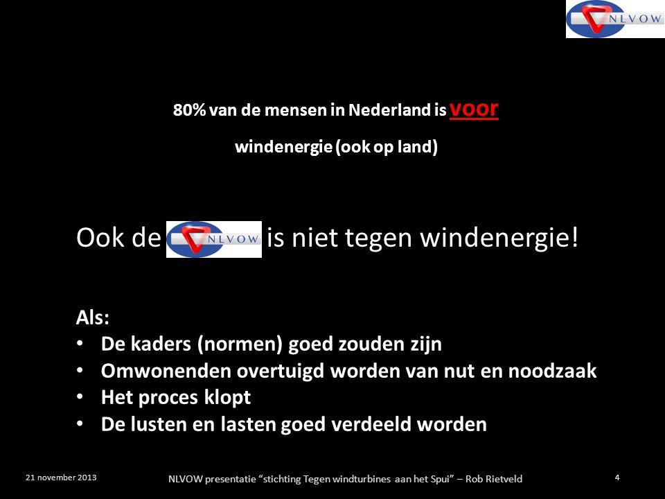 80% van de mensen in Nederland is voor windenergie (ook op land)