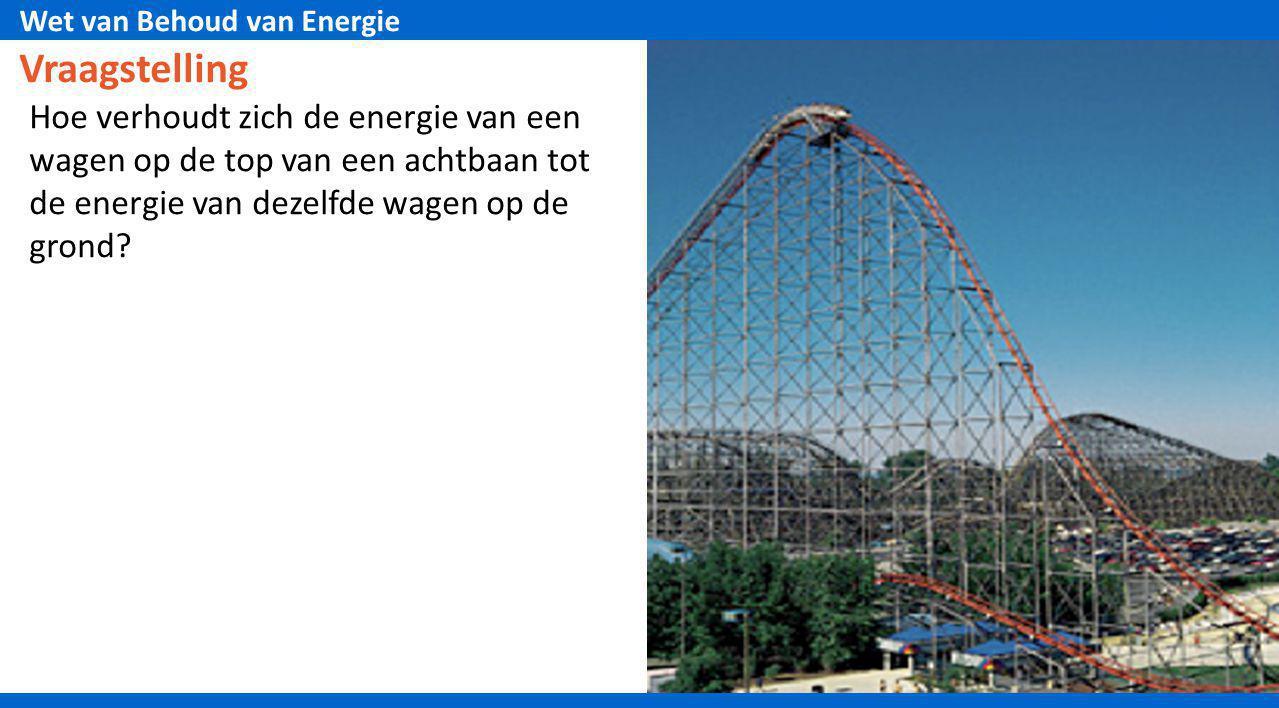 Vraagstelling Hoe verhoudt zich de energie van een wagen op de top van een achtbaan tot de energie van dezelfde wagen op de grond