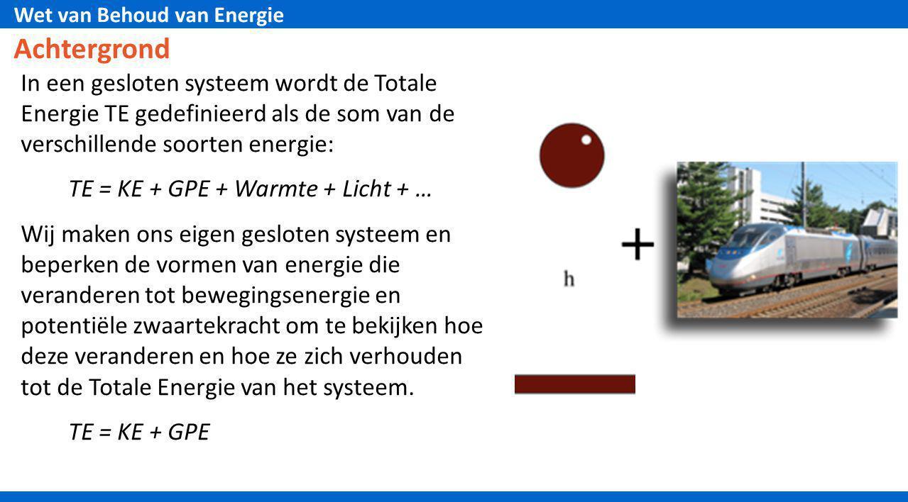 Achtergrond In een gesloten systeem wordt de Totale Energie TE gedefinieerd als de som van de verschillende soorten energie: