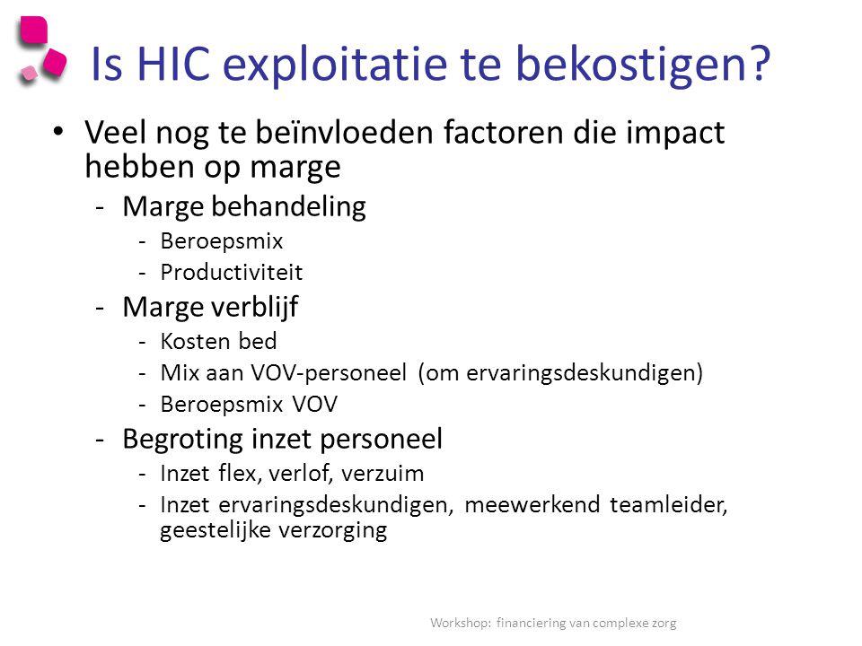 Is HIC exploitatie te bekostigen