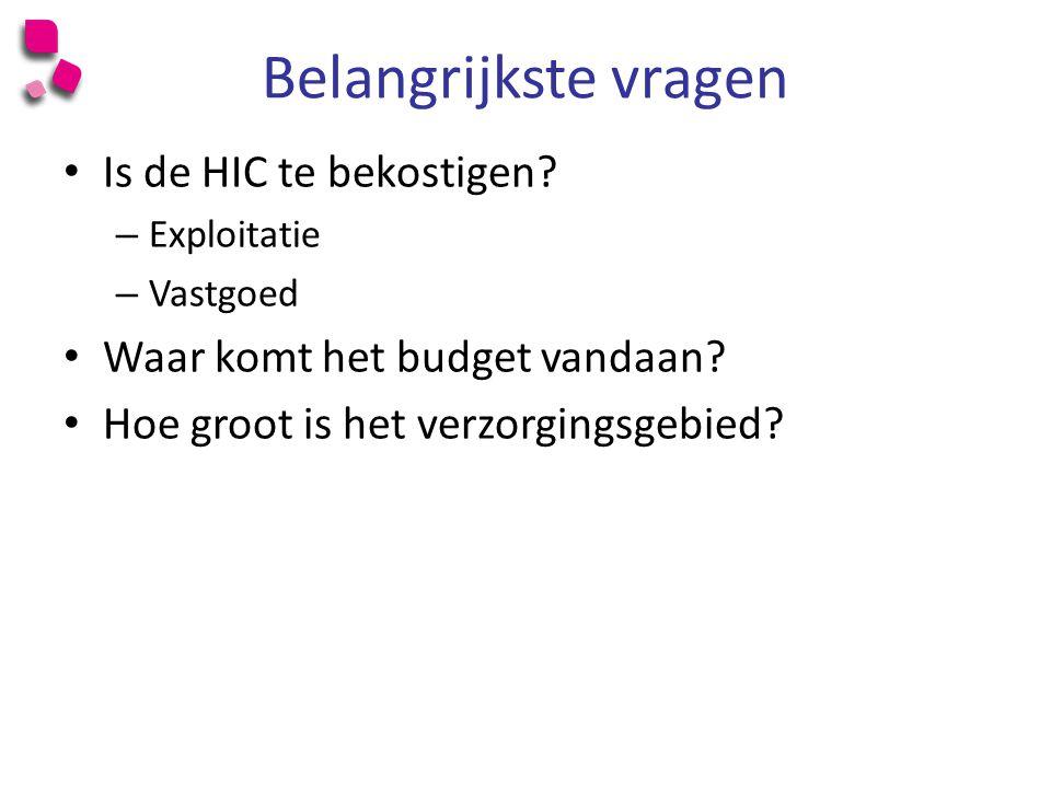 Belangrijkste vragen Is de HIC te bekostigen