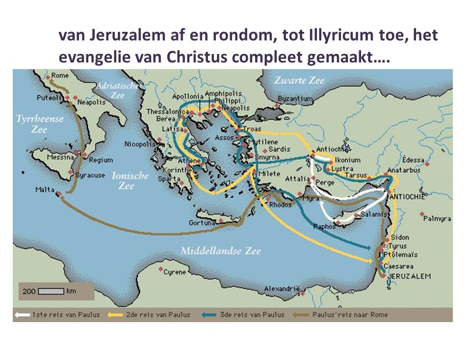 van Jeruzalem af en rondom, tot Illyricum toe, het evangelie van Christus compleet gemaakt….