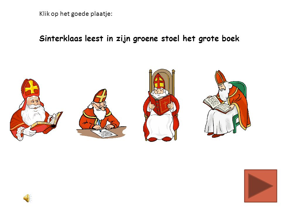 Sinterklaas leest in zijn groene stoel het grote boek