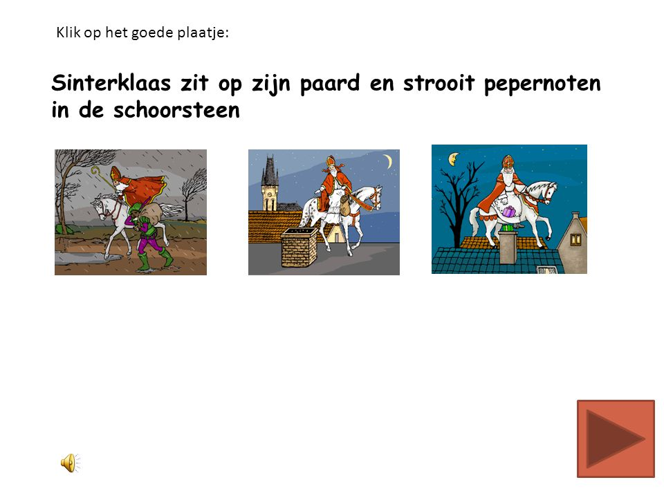 Sinterklaas zit op zijn paard en strooit pepernoten in de schoorsteen