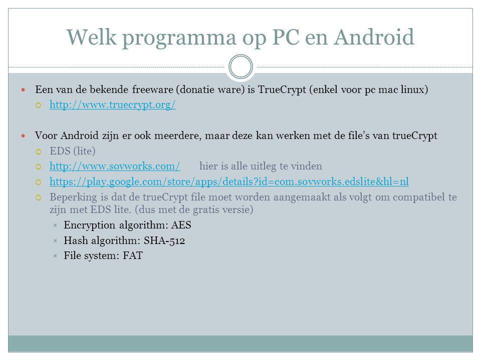 Welk programma op PC en Android