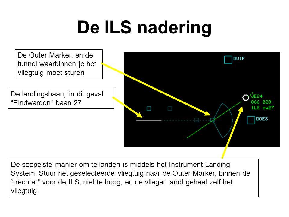 De ILS nadering De Outer Marker, en de tunnel waarbinnen je het vliegtuig moet sturen. De landingsbaan, in dit geval Eindwarden baan 27.
