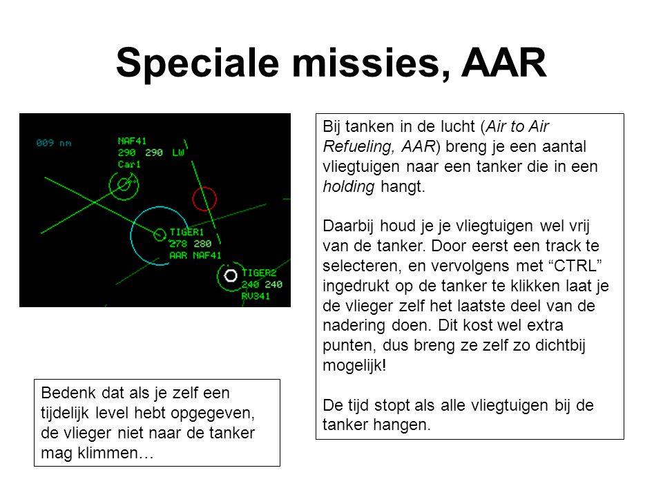 Speciale missies, AAR Bij tanken in de lucht (Air to Air Refueling, AAR) breng je een aantal vliegtuigen naar een tanker die in een holding hangt.