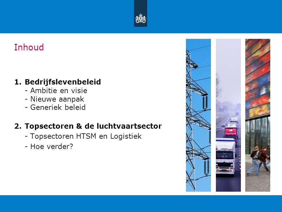 Inhoud Bedrijfslevenbeleid - Ambitie en visie - Nieuwe aanpak - Generiek beleid. Topsectoren & de luchtvaartsector.