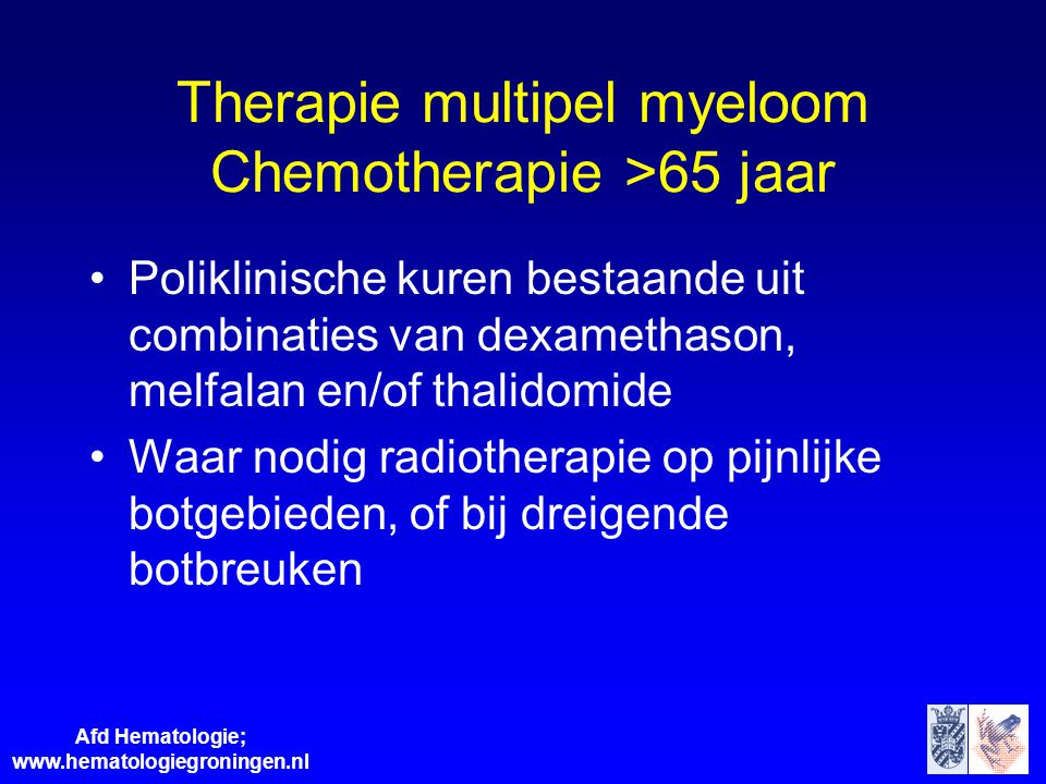 Therapie multipel myeloom Chemotherapie >65 jaar