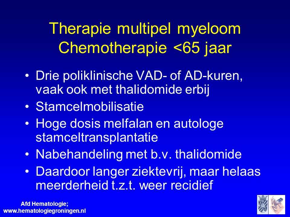 Therapie multipel myeloom Chemotherapie <65 jaar