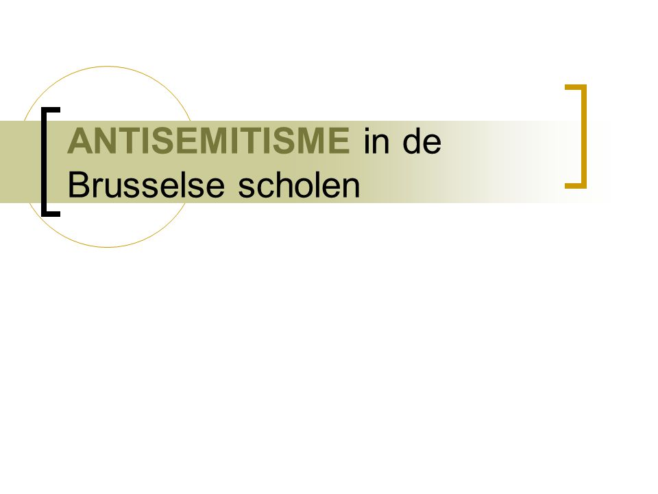 ANTISEMITISME in de Brusselse scholen