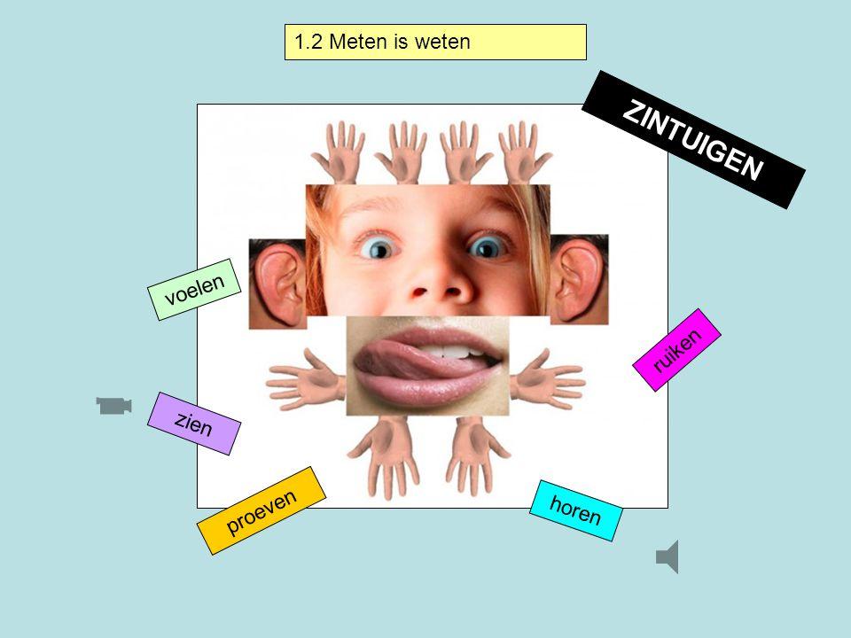 1.2 Meten is weten ZINTUIGEN voelen ruiken zien proeven horen