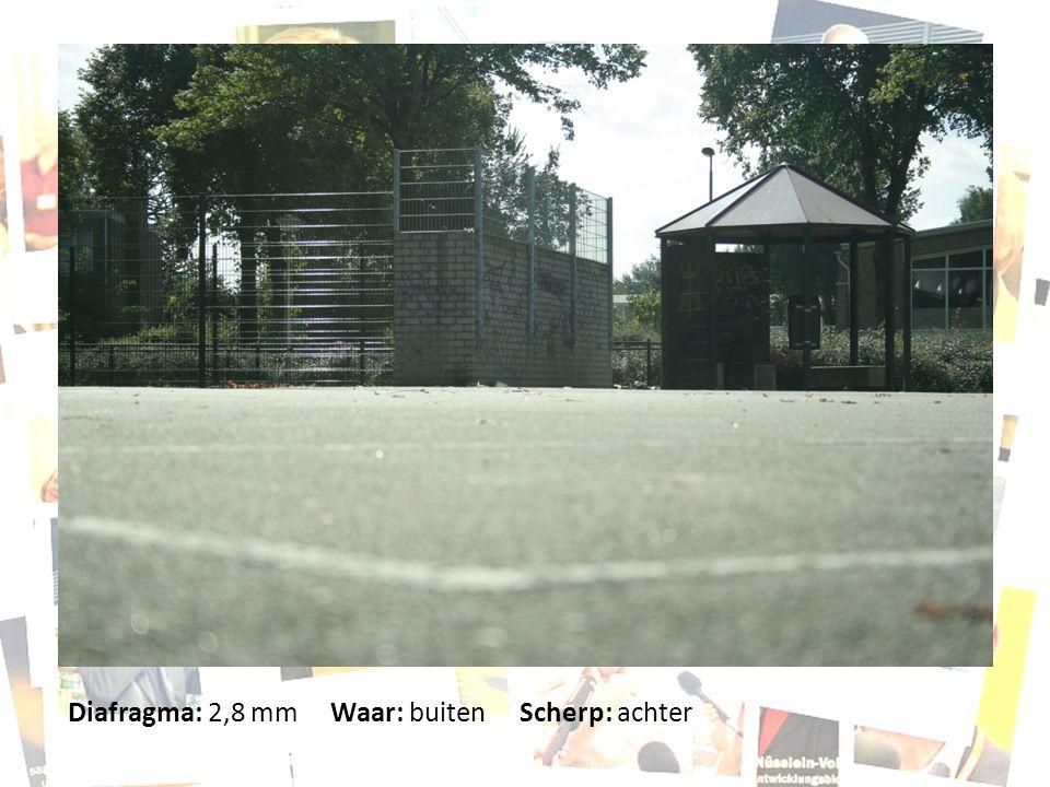 Diafragma: 2,8 mm Waar: buiten Scherp: achter