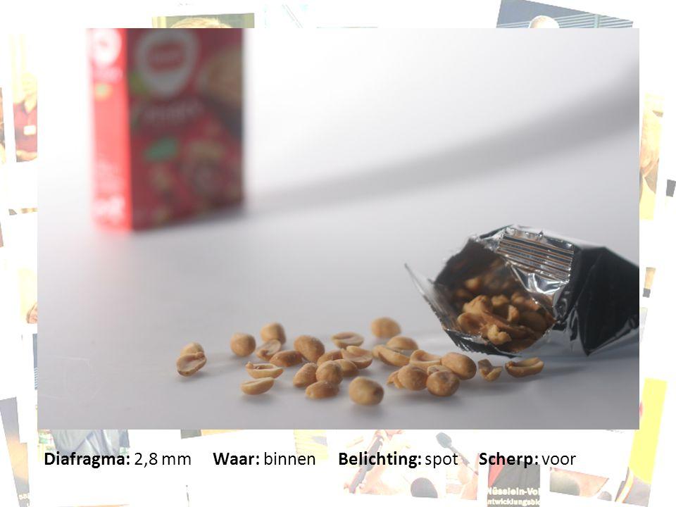 Diafragma: 2,8 mm Waar: binnen Belichting: spot Scherp: voor