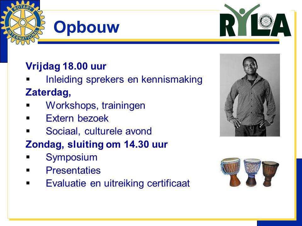 Opbouw Vrijdag 18.00 uur Inleiding sprekers en kennismaking Zaterdag,