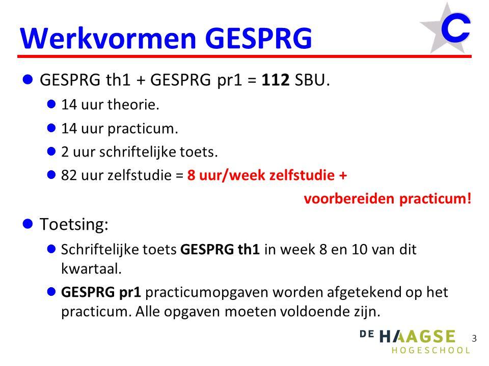 Werkvormen GESPRG GESPRG th1 + GESPRG pr1 = 112 SBU. Toetsing: