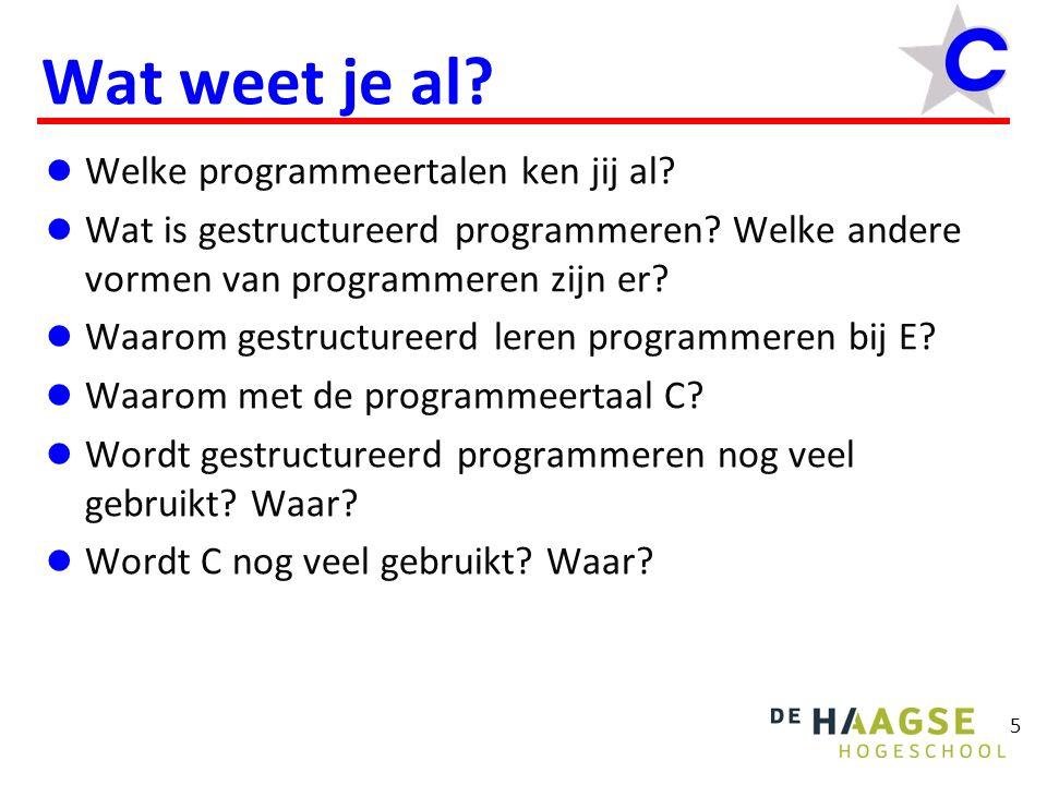 Wat weet je al Welke programmeertalen ken jij al