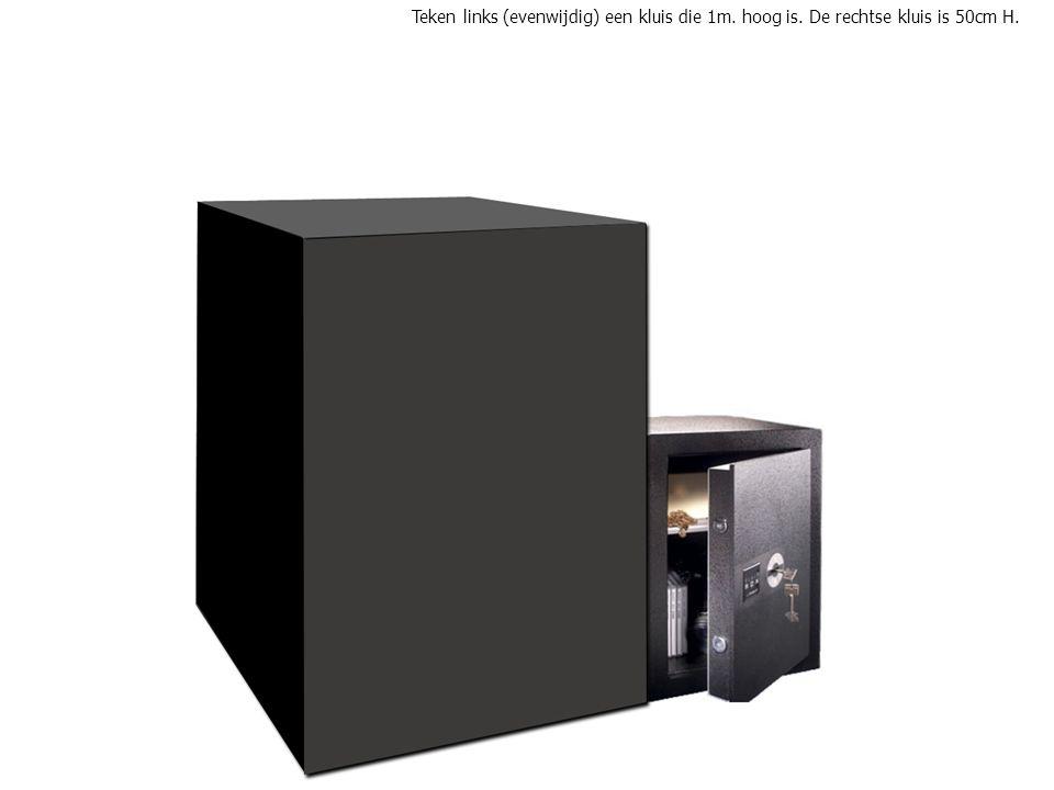 Teken links (evenwijdig) een kluis die 1m. hoog is