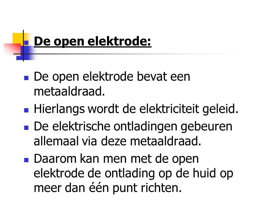 De open elektrode: De open elektrode bevat een metaaldraad. Hierlangs wordt de elektriciteit geleid.