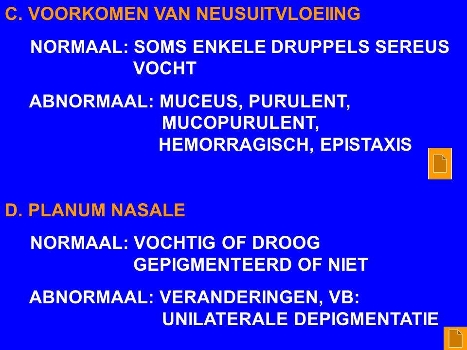 C. VOORKOMEN VAN NEUSUITVLOEIING
